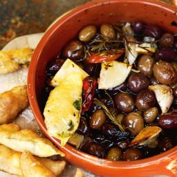 Grilled lemon and herb olives