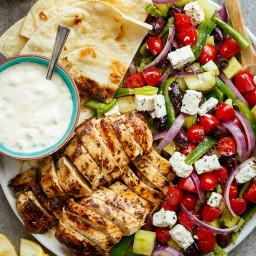 Grilled Lemon Garlic Chicken Greek Salad
