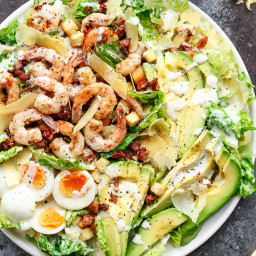 Grilled Lemon Garlic Shrimp Caesar Salad