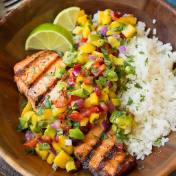 Grilled Lime Salmon with Avocado-Mango Salsa and Coconut Rice