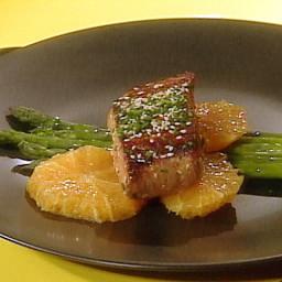 Grilled Mahi Mahi Fillets and Asparagus with Orange and Sesame