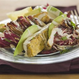 Grilled Marinated Tempeh Steak with Avocado, Radicchio, Orange Dressing, an