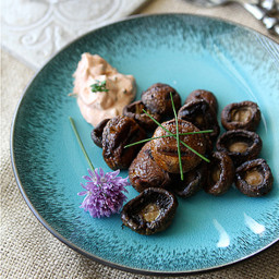 Grilled Mushrooms with Smoked Paprika and Chive Dipping Sauce Recipe