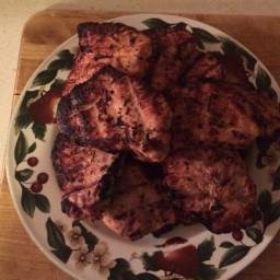 Grilled Mustard coated Pork Chops