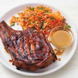 Grilled Mustard Pork Chops with Carrot Salad