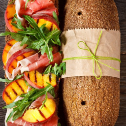 Grilled Nectarine and Prosciutto Submarine Sandwich