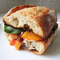 Grilled Peach Sandwiches with Burrata and Basil