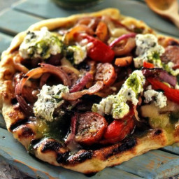 Grilled Pizza with Hot Sausage, Grilled Peppers and Onions and Oregano Rico
