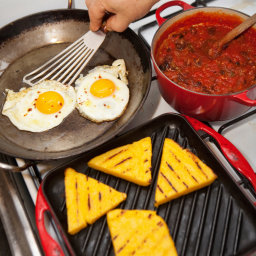 Grilled Polenta With Spicy Tomato Sauce and Fried Eggs