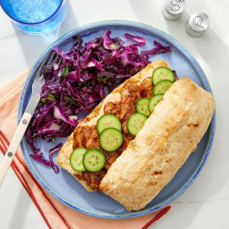 Grilled Pork Bánh Mì with Red Cabbage & Scallion Slaw