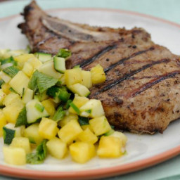 Grilled Pork Chops with Spicy Zucchini-Pineapple Salsa