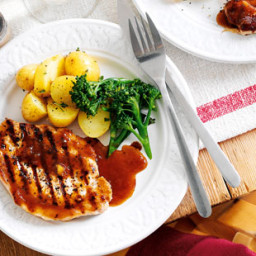 Grilled pork steaks with ginger and orange sauce recipe