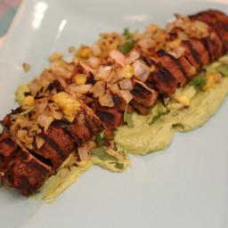 Grilled Pork Tenderloin al Pastor with Avocado Crema