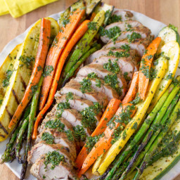 Grilled Pork Tenderloin with Chimichurri and Roasted Vegetables