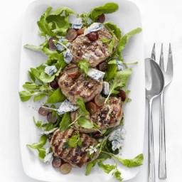 Grilled Pork with Arugula-and-Grape Salad