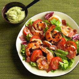 Grilled Prawn Salad with Avocado Aioli
