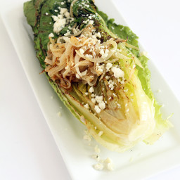 Grilled Romaine with Caramelized Onion Noodles, Blue Cheese & Greek Yogurt