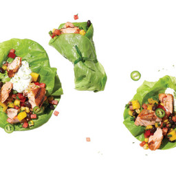 Grilled Salmon and Watermelon-Mango Salsa Wraps