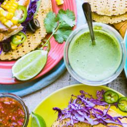 Grilled Salmon Tacos with cilantro crema