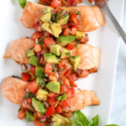 Grilled Salmon with Avocado Bruschetta
