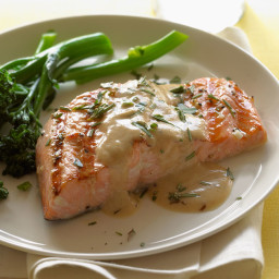 Grilled Salmon with Herbs, Dijon, and Extra-Virgin Olive Oil