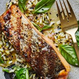 Grilled Salmon with Lemon-Sesame Sauce