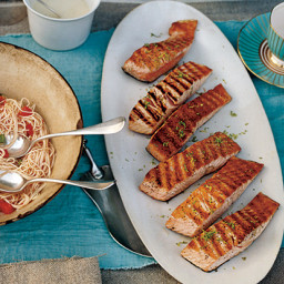 Grilled Salmon with Lime Butter Sauce