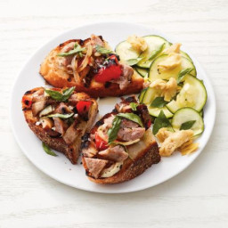 Grilled Sausage and Mushroom Toasts