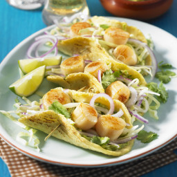 Grilled Scallop Tacos and Cabbage Slaw with Spicy Avocado Sauce