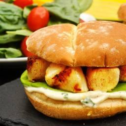 Grilled Scallops with Lemon Basil Mayo on D'Italiano Brizzolio Hamburger Bu