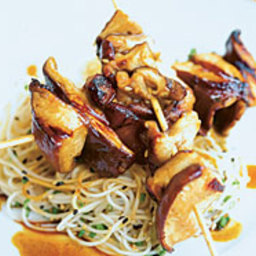 Grilled Shiitakes with Mojo Oriental and Somen Noodles