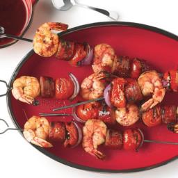 Grilled Shrimp and Sausage Skewers with Smoky Paprika Glaze