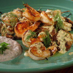 Grilled Shrimp Skewers with Mustard-Dill Dressing and Black Olive Yogurt Sa