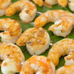 Grilled shrimp with ginger lemon dipping sauce