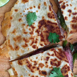 Grilled Skirt Steak Quesadillas with Tomatillo Sauce