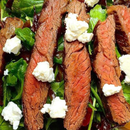 Grilled Skirt Steak Salad with Arugula, Balsamic-Glazed Onions, Tomatoes, a