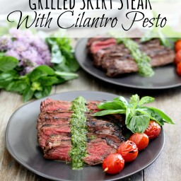 Grilled Skirt Steak with Cilantro Pesto