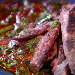 Grilled Skirt Steak with Green and Smokey Red Chimichurri