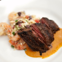 Grilled Skirt Steak with Sweet Roasted Tomato Sauce and Roasted Shrimp, Bla