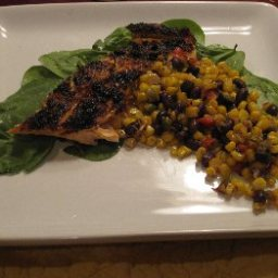 Grilled Spice-Rubbed Salmon with Corn Salsa