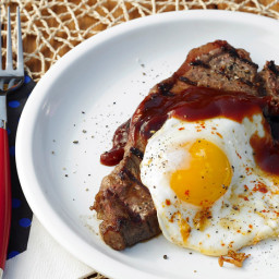 Grilled Steak and Eggs with Beer and Molasses