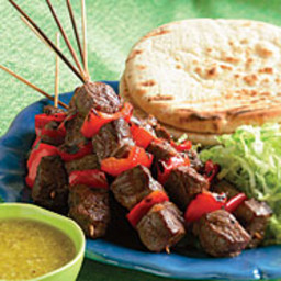 Grilled Steak Kebab Pitas with Ginger and Garlic Dressing
