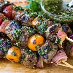 Grilled Steak Kebabs with Chimichurri Sauce