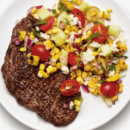 Grilled Steak with Greek Corn Salad