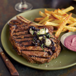 Grilled Steaks with Onion Sauce and Onion Relish