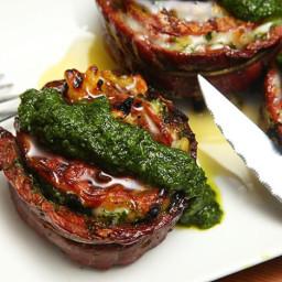 Grilled Stuffed Flank Steak With Pesto, Mozzarella, and Prosciutto Recipe
