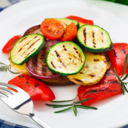 Grilled Summer Squash or Zucchini, Onion, & Tomatoes
