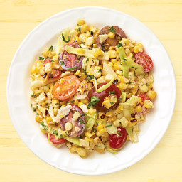 Grilled Sweet Corn, Cabbage and Tomato Salad