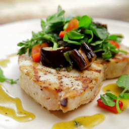 Grilled Swordfish and Eggplant Salad with Honey-Thyme Vinaigrette