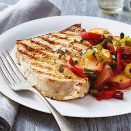 Grilled Swordfish with Potato-Chorizo Salad